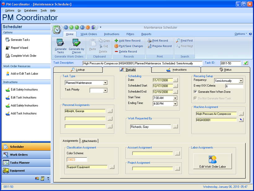 Pm Coordinator Maintenance Management System